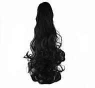 Недорогие -24 дюйм Черный На клипсе Волнистый Конские хвостики Медведь-коготь / челюсть Синтетический Волосы Наращивание волос