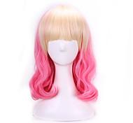 Недорогие -Искусственные волосы парики Естественные волны Волосы с окрашиванием омбре Без шапочки-основы Парик Лолита Розовый