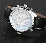 cheap -Men's Wrist Watch Mechanical Watch Aviation Watch Automatic self-winding Leather Black Calendar / date / day Analog Luxury Classic - White Dark Blue / Stainless Steel
