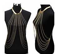 Women's Body Jewelry Belly Chain Harness Necklace Body Chain Tassel Sexy European Crossover Fashion Bikini Costume Jewelry Gold Plated
