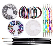Nail Kit includes 30 Striping tape & 12 Silver Rhinestones & Dotting Pen set