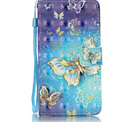 PU Leather Material 3D Painting Gold Butterfly Pattern Phone Case for Samsung Galaxy J5/J510/J3/J310/G360/G530