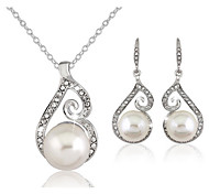 Women's Jewelry Set Drop Earrings Necklace/Earrings Basic Adjustable Elegant Bridal Costume Jewelry Pearl Imitation Diamond Ball Earrings