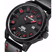 Недорогие -NAVIFORCE Муж. Армейские часы Кварцевый Японский кварц Календарь Кожа Группа На каждый день Черный Хаки
