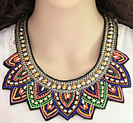Women's Statement Necklaces Resin Fabric Alloy Fashion Bohemian Rainbow Jewelry Party Daily 1pc