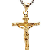 Vintage Jesus Titanium Necklace Pendant - Golden Cross
