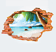 3D Summer Beach Broken Wall Design 3D Wall Stickers Fashion Creative Landscape Living Room Bathroom Wall Decals