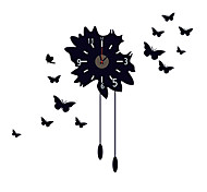 DIY Personality Black Butterfly Wall Stickers With Wall Clock Fashion Family Living Room Home Decor Removable