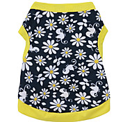 cheap -Cat Dog Shirt / T-Shirt Dog Clothes Breathable Fashion Floral / Botanical Black/Yellow Costume For Pets