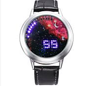 Fashion Men's Black Leather Colorful Stars Date Digital LED Watch Bracelet Sport Watches
