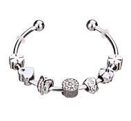 cheap -Women's Girls' Charm Bracelet Bangles Cuff Bracelet Silver Bracelets Strand Bracelet Fashion Adorable Durable European Beaded Rhinestone