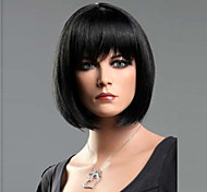 Women Synthetic Wig Short Straight Black Bob Haircut With Bangs Halloween Wig Carnival Wig Costume Wig
