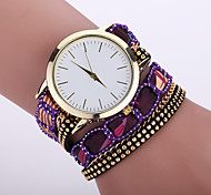 Women's Bohemian Style Fabric Band White Case Analog Quartz Bracelet Fashion Watch Strap Watch