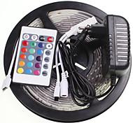 5M 16.4ft Waterproof RGB 300x5630 SMD LED  Flexible LED Light Strips +24 Key IR 12V 2A Power Supply AC100-240V