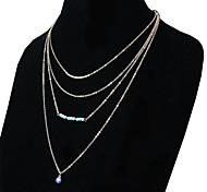 Ожерелье Ожерелья-цепочки Бижутерия Повседневные Мода Сплав / Бирюза Золотой 1шт Подарок