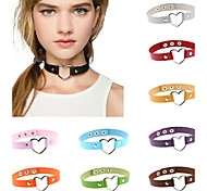 16 Colors Vintage Sexy Punk Gothic Heart Leather Necklace Women Jewelry Wholesale