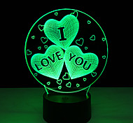 cheap -1 pc 3D Nightlight Remote control 7-Color Remote Control / RC Night Vision Small Size Color-Changing
