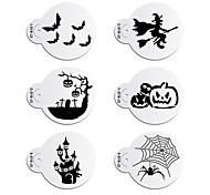 6pcs Halloween Stencil Set for Cake Decoration,Wizard Ghost/Old Tree Cookie and Cupcake Stencil Mold Tool Set ST-843