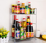 cheap -2 Tier Chrome Stainless Steel Double Spice Rack  Turret Rack Kitchen Utensils