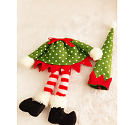 1pc Christmas Wave Point Elf Wine Bottle Clothes Cover Table Decoration Home Party Supplies