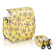 PU Leather Flower Pattern Case Bag for Fujifilm Instax Mini 8 Instant Film Camera, Yellow