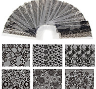 20 Sheet 20cm*4cm Black Lace Flower Transfer Foil Nail Art Sexy Design Sticker Decal For Polish Care