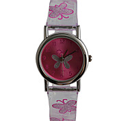 Kids' Fashion Watch Quartz Water Resistant / Water Proof Plastic Band Casual Butterfly Purple