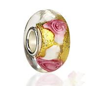 В форме цветка Роуз Стекло Бусины европейский Бижутерия Для