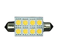 Недорогие -10x теплый белый гирлянда 42mm 5050 8-SMD 211-2 578 569 купол карту интерьер свет водить