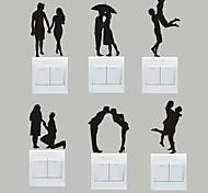 Романтика Наклейки Простые наклейки Декоративные наклейки на стены / Наклейки для выключателя света,PVC материал Съемная Украшение дома
