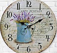 Недорогие -Модерн Семья Настенные часы,Круглый Дерево 34*34*3cm В помещении Часы