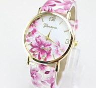 cheap -Geneva Women's Quartz Wrist Watch / Hot Sale Leather Band Flower Casual Fashion Multi-Colored
