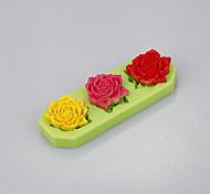 три полости силиконовые формы торт украшения инструменты помадные выпечки чашки с цветами формы ramdon цвета