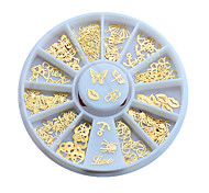 3d Gold Metal Nail Art Sticker Decoration Wheel Butterfly Lips Design