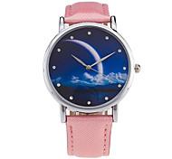 New Fashion Watch Women Star Sky Pattern Rhinestone Casual Quartz Watch Ladies Popular Leather Strap Meteor Wristwatch