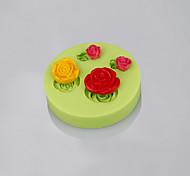Rosa forma de flor molde de silicone mofo fondant bolo decoração ferramentas de cozimento cor aleatória