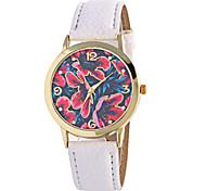 cheap -Women's Quartz Digital Wrist Watch Moon Phase PU Band Charm Flower Vintage Candy color Casual Fashion Cool Black White