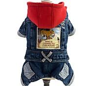 Dog Jumpsuit Denim Jacket/Jeans Jacket Dog Clothes Denim Spring/Fall Winter Cowboy Fashion Jeans Blue For Pets