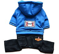 Dog Hoodie Jumpsuit Dog Clothes Fashion Jeans Dark Blue Pink Light Blue Costume For Pets