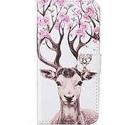 Для Кошелек / Бумажник для карт / со стендом / Флип / С узором Кейс для Чехол Кейс для Животный принт Твердый Искусственная кожа Apple