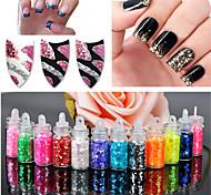 12Pcs/set Mini Bottle Glitter Sequin Nail Art Powder Dust Tip Rhinestone Manicure Tools