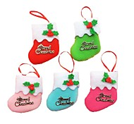 6pcs petites bottes pendaison ornements d'arbre de noël vacances décorations de Noël chaussettes de noël (style aléatoire)