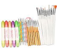 Недорогие -маникюрные наборы инструментов 3 в 1 для ногтей искусство дизайна набор расставить рисунок живопись ногтей кисточку