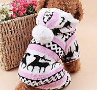 cheap -Cat Dog Hoodie Jumpsuit Pajamas Dog Clothes Reindeer Gray Brown Blue Pink Polar Fleece Costume For Pets Men's Women's Cute Keep Warm