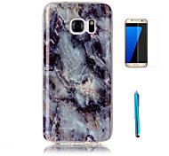 cheap -For Samsung Galaxy S7 Edge Case Cover with Screen Protector and Stylus Granite Marble Pattern Soft TPU Case S7 S6 Edge S5 S4 S3