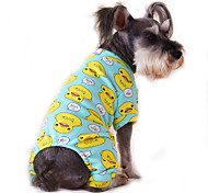 Cat Dog Jumpsuit Pajamas Dog Clothes Cotton Spring/Fall Winter Cute Casual/Daily Cartoon Yellow Red Blue Pink Blue-Yellow For Pets