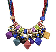 Retro Braided Rope Colorful Hanging Beads Stone Statement Necklaces
