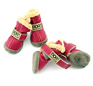 Dog Shoes & Boots Snow Boots Keep Warm Waterproof Fashion Solid Brown Red Blue Wine Dark Green For Pets
