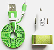 3Ports Metal Usb Car Charger with 100cm Micro Usb Flat Cable for Samsung Huawei Xiaomi and Other Cellphone