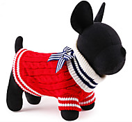 Cat / Dog Sweater Red / Blue Dog Clothes Winter / Spring/Fall Color Block Cute / Christmas / New Year's